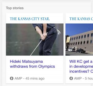 AMP logo in mobile screenshot of a search for Kansas City